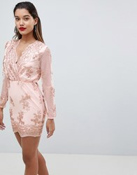 Ax Paris Long Sleeve Embellished Bodycon Dress Pink