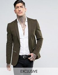 Religion Super Skinny Suit Jacket With Zip Detail Green