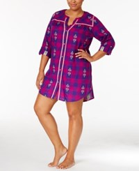 Lucky Brand Plus Size Contrast Trimmed Flannel Sleepshirt Purple Plaid