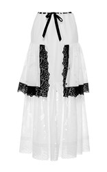 Alexis Mabille Tiered Full Length Skirt White