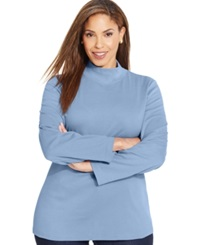Karen Scott Plus Size Long Sleeve Mock Turtleneck Top Only At Macy's Waterfall