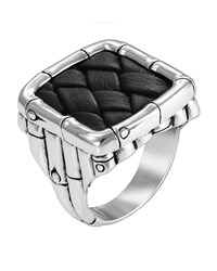 John Hardy Bamboo Silver And Woven Leather Square Ring Size 10