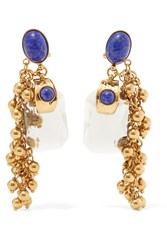 Etro Gold Plated Embellished Earrings Gold Blue