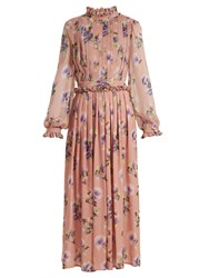 Msgm Silk Chiffon Pleated Floral Dress Nude Multi