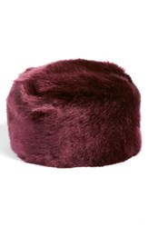 Women's Dena Faux Fur Pill Box Hat Red Burgundy