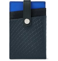 Want Les Essentiels Kennedy Colour Block Leather And Suede Cardholder With Money Clip Navy