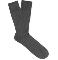 John Smedley Ribbed Sea Island Cotton Blend Socks Charcoal