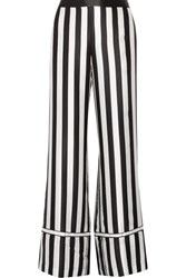 La Ligne Striped Silk Satin Wide Leg Pants Black
