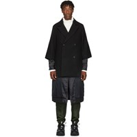 D.Gnak By Kang.D Black Double Layered Jumper Coat