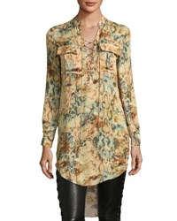 Haute Hippie Hellfire Lace Up Printed High Low Silk Blouse Snake