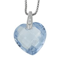 Jools By Jenny Brown Rhodium Plated Silver Cubic Zirconia Heart Shaped Pendant Blue Topaz