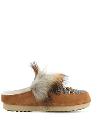 Moon Boot Far Side Sabot Loafers W Faux Fur Whiskey