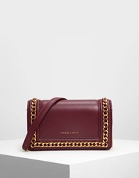 Charles And Keith Chain Rimmed Clutch Prune