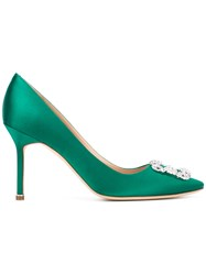 Manolo Blahnik Hangisi Pumps Women Leather Satin Ribbon 37.5 Green