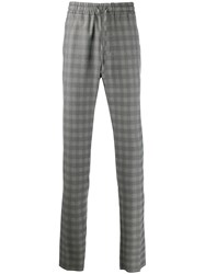 Versace Drawstring Plaid Trousers Black