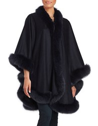 Sofia Cashmere And Fox Fur Cape Blue