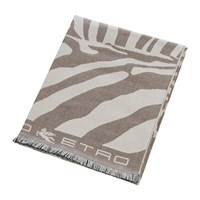 Etro Parrish Zebra Fringed Throw 140X180cm Beige