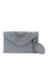 Alaia Beaded Laser Cut Clutch Bag White