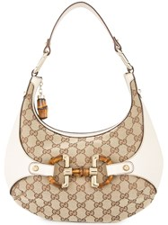 Gucci Vintage Bamboo Half Moon Hobo Bag Nude And Neutrals