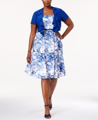 R And M Richards Plus Size Belted Printed Dress Jacket Blue White