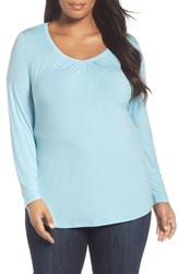 Sejour Plus Size Women's Sweetheart Neck Long Sleeve Tee Blue Glaze