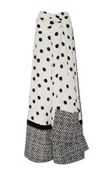 Oscar De La Renta Wide Leg Polka Dot Pants White