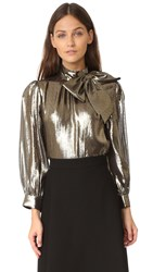 Alice Olivia Violeta Blouse With Exaggerated Neck Bow Gold Black