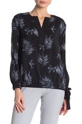 Lafayette 148 New York Joan Side Tie Print Silk Blouse Ink Multi