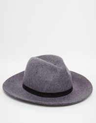 Asos Fedora Hat In Grey Felt With Black Faux Leather Band