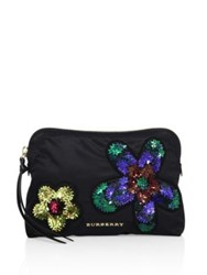 Burberry Large Sequined Nylon Pouch Black Multi