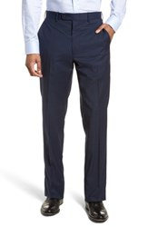 Jb Britches 'S Big And Tall Flat Front Check Wool Trousers Blue