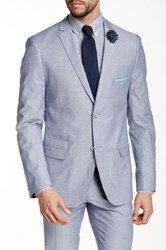 Paisley And Gray Slim Fit 2 Button Notch Collar Blazer Blue