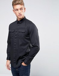 Jack And Jones Core Shirt With Military Pocket Webbing In Slim Fit Black