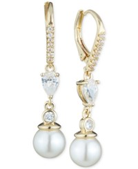 Anne Klein Imitation Pearl And Crystal Drop Earrings Gold