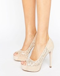 Little Mistress Nude Peep Toe Stilettos With Floral Lace Overlay Beige