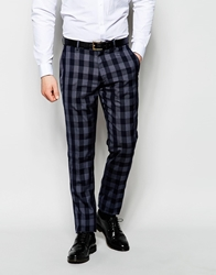 Vito Check Suit Trousers In Skinny Fit Blue