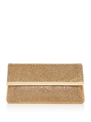 Issa Loula Diamante Embellished Clutch Brown