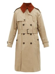 Mackintosh Corduroy Collar Cotton Gabardine Trench Coat Beige
