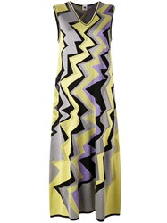 M Missoni Metallic Grey Zigzag Midi Dress Women Cotton Polyamide Polyester Metallic Fibre 40