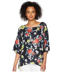 Nally And Millie Black Floral Print Dolman Top Multi Clothing