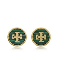 Tory Burch Malachite Semi Precious Stone Earrings Gold