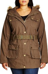 City Chic Plus Size Women's Faux Fur Trim Hooded Belted Utility Jacket