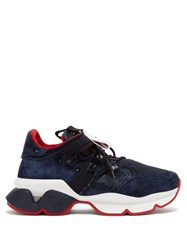 Christian Louboutin Red Runner Suede Trainers Navy