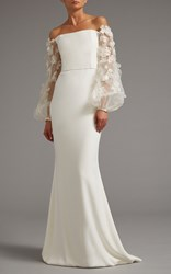 Elizabeth Kennedy Off The Shoulder Gown With Sheer Embroidered Sleeves White