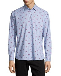 Etro Paisley And Dot Print Long Sleeve Sport Shirt Light Blue