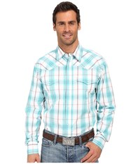 Roper Snap 0172 Oceanside Plaid Green Men's Long Sleeve Button Up