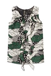 Anna Sui Printed Silk Shell With Ruffled Front Multicolor