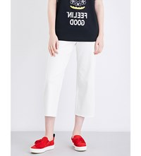 Moandco. Straight Cropped Frayed Hem High Rise Jeans White Denim