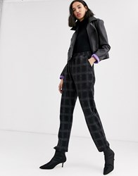 Native Youth Relaxed Tracksuit Bottoms In Check Co Black