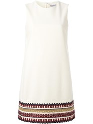 Red Valentino Embroidered Hem Shift Dress White